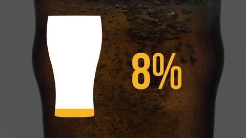 Pint glass icon and increasing percent in yellow with beer in glass Animation