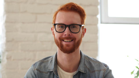 Portrait of Smiling Man w/ Red Hairs and Beard Footage