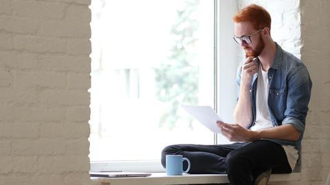 Reading Documents, Paperwork, Relax Man Sitting in Window, Beard Footage