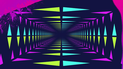 Pink paint and neon lit moving tunnel Animation