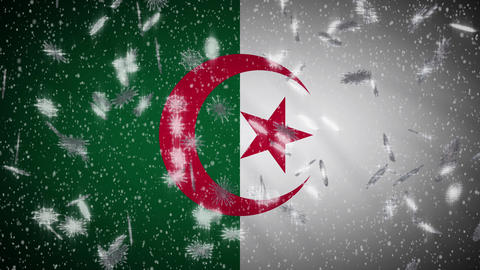 Algeria flag falling snow loopable, New Year and Christmas background, loop Animation