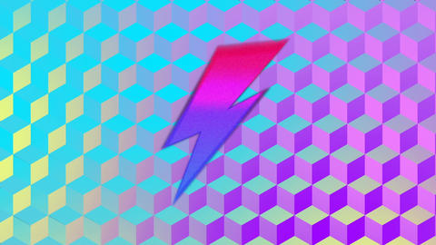 Flash sale graphic and colourful lightning flash shapes on blue cube background Animation