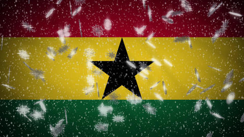 Ghana flag falling snow loopable, New Year and Christmas background, loop Animation
