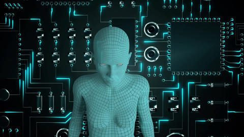 Female android form in front of glowing computer circuit… Stock Video Footage