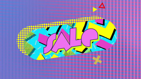 Sale graphic in blue capsule shape with patterns on a pink mesh background Animation