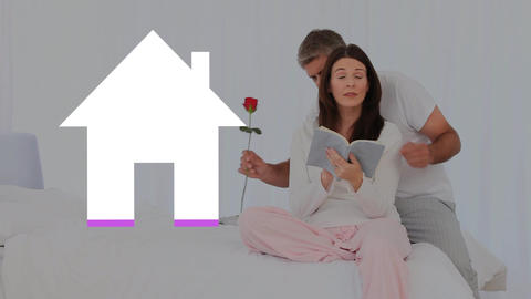 Romantic adult couple and house icon filling pink Animation