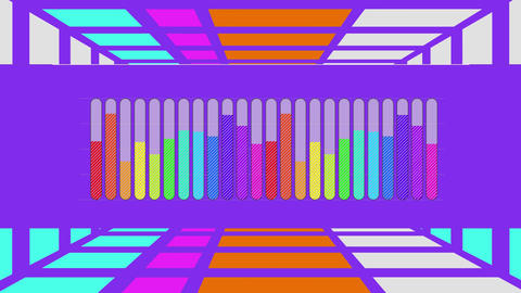 Rainbow coloured bar chart on purple with moving purple grid background Animation