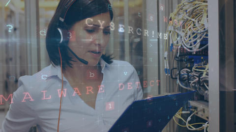 Woman working in a server room while danger messages move and flash in the foreground Animation