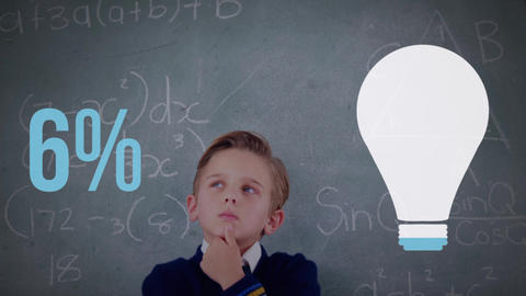 Schoolboy in a classroom with light bulb shape and numbers filling up with colour 4k Animation