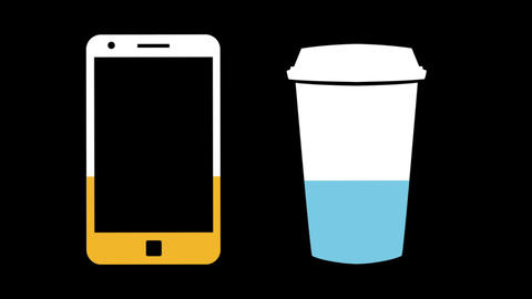 Smartphone and coffee cup filling up with colours 4k Animation