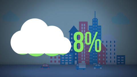 Cloud shape and numbers filling up with colour with building shapes in the background Animation