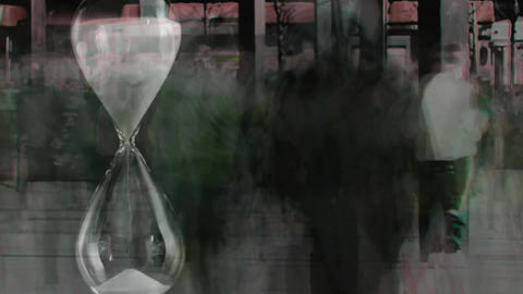 People walking fast with hourglass in the foreground Animation
