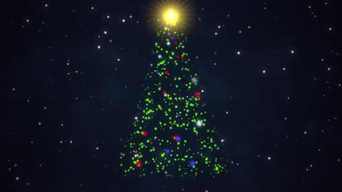 Animated closeup Christmas tree on dark blue background Animation
