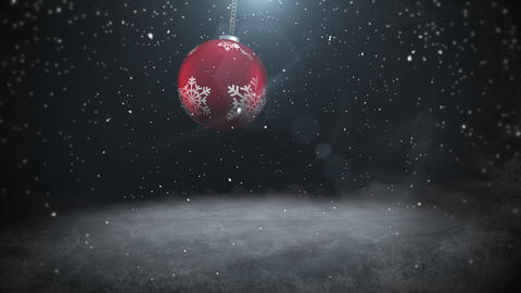 Animated close up white snowflakes and red balls on dark background Animation
