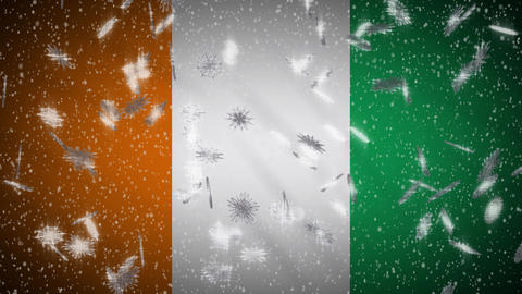 Cote dIvoire - Ivory Coas flag falling snow, New Year and Christmas, loop Animation
