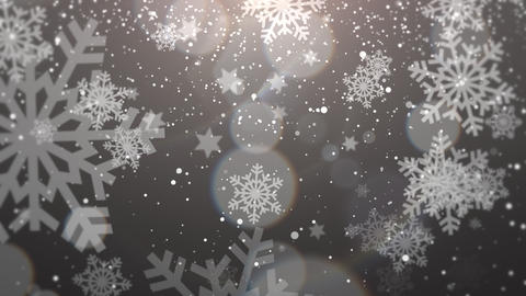 White snowflake falling. Happy New Year and Merry Christmas shiny background Animation