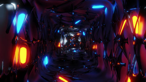 endless abstract fantasy elven tunnel corridor with glowing lights and Animation