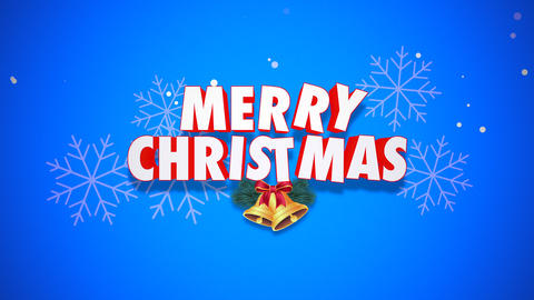 Animated closeup Merry Christmas text and bells on blue background Animation