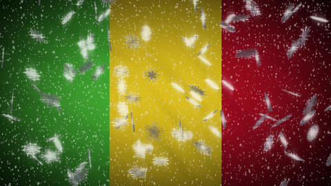 Mali flag falling snow loopable, New Year and Christmas background, loop Animation
