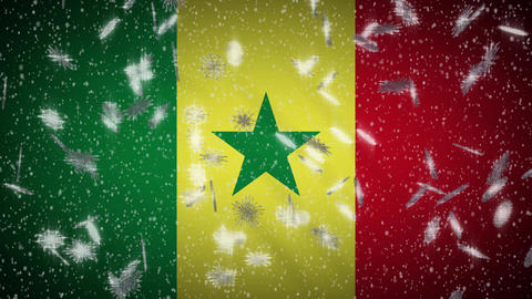 Senegal flag falling snow loopable, New Year and Christmas background, loop Animation