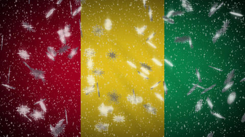 Guinea flag falling snow loopable, New Year and Christmas background, loop Animation