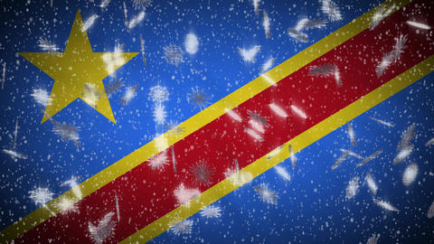 Congo DR flag falling snow loopable, New Year and Christmas background, loop Animation