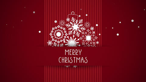 Animated closeup Merry Christmas text, white snowflakes on red background Animation