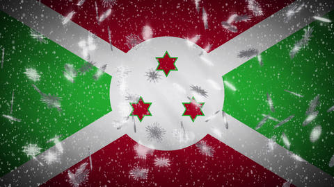 Burundi flag falling snow loopable, New Year and Christmas background, loop Animation
