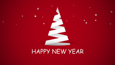 Animated closeup Happy New Year text, white Christmas tree on red background Animation