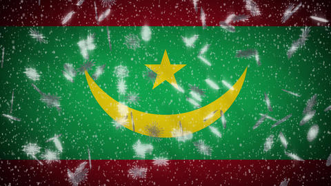 Mauritania flag falling snow loopable, New Year and Christmas background, loop Animation