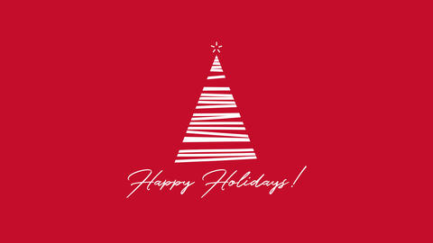 Animated closeup Happy Holidays text, white Christmas tree on red background Animation