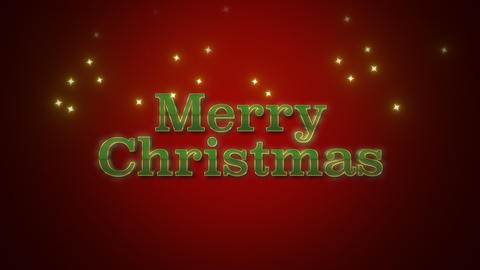 Animated closeup Merry Christmas text on red background Animation