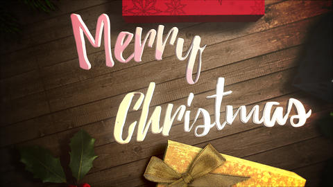 Animated closeup Merry Christmas text, gift boxes and green tree branches on wood background Animation