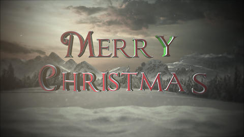 Animated close up Merry Christmas text, mountains and snowing landscape Animation