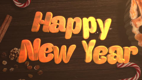 Animated closeup Happy New Year text, candy and Christmas pie on wood background Animation
