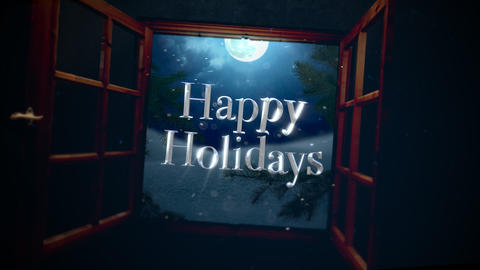 Animated closeup Happy Holidays text with open window, away mountains and moon landscape Animation