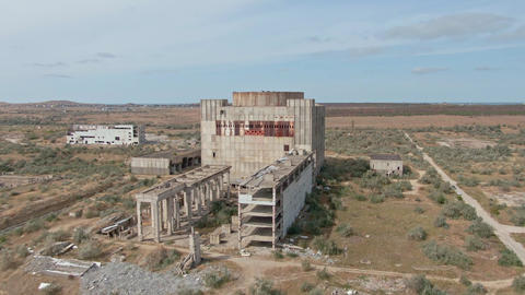 AERIAL SHOT CRIMEA near SHELKINO city AUGUST 2019 Old abandoned atomic power Live Action