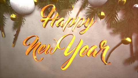 Animated closeup Happy New Year text, white and yellow ball, green Christmas branches on snow Animation