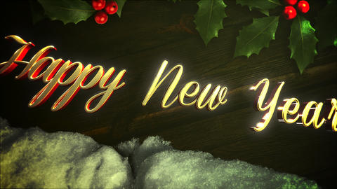 Animated closeup Happy New Year text, white snow and green Christmas branch on wood background Animation