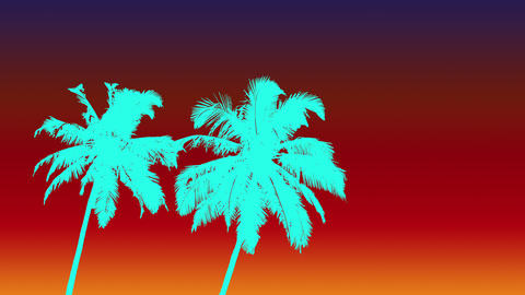 Two aqua gradient color palms and sky 80s style Live Action