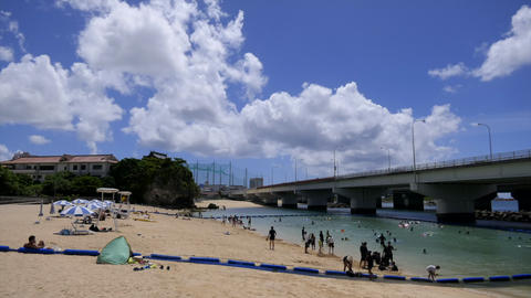 Time-lapse Of Sea And Naminoue Beach In Naha Okinawa Japan Live Action