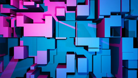 Dancing block, building in blue and pink color. Music party club background CG動画