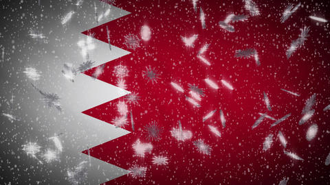 Bahrain flag falling snow loopable, New Year and Christmas background, loop Animation