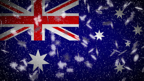 Australia flag falling snow loopable, New Year and Christmas background, loop Animation