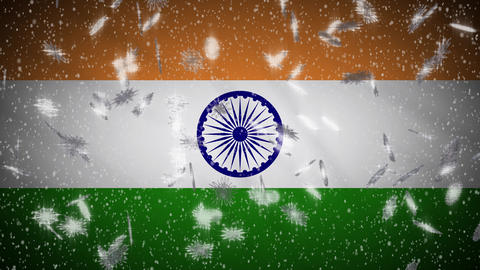 India flag falling snow loopable, New Year and Christmas background, loop Animation