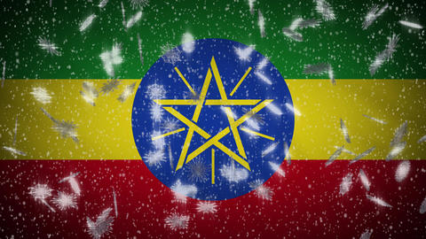 Ethiopia flag falling snow loopable, New Year and Christmas background, loop Animation