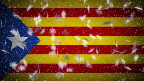 Blue estelada flag falling snow loopable, New Year and Christmas background loop Animation
