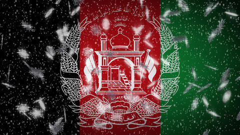 Afghanistan flag falling snow loopable, New Year and Christmas background, loop Animation