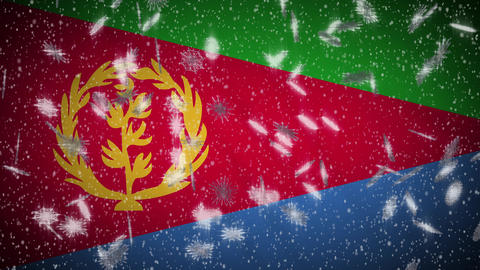 Eritrea flag falling snow loopable, New Year and Christmas background, loop Animation