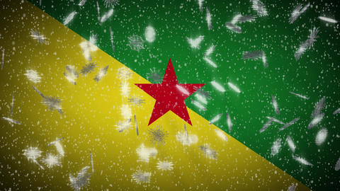 French Guiana flag falling snow loopable, New Year and Christmas background loop Animation